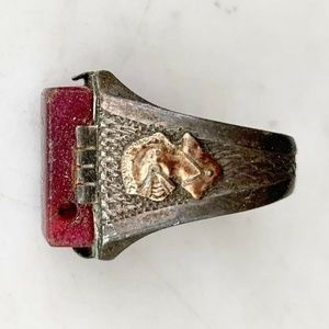 Ring Thick Band Rectangle Stone Knight Mixed Metal